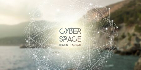 Cyberspace and network connection vector digital illustration. Futuristic technology design template with glowing particles and repeating fractal lines. 일러스트