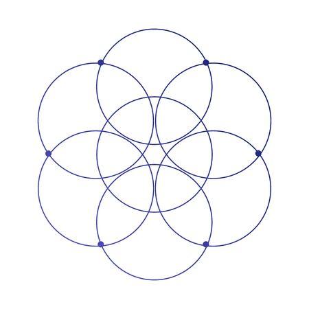 Schizzo del tatuaggio scientifico del fiore della vita con il simbolo antico dei cerchi ad incastro mistico isolato su bianco
