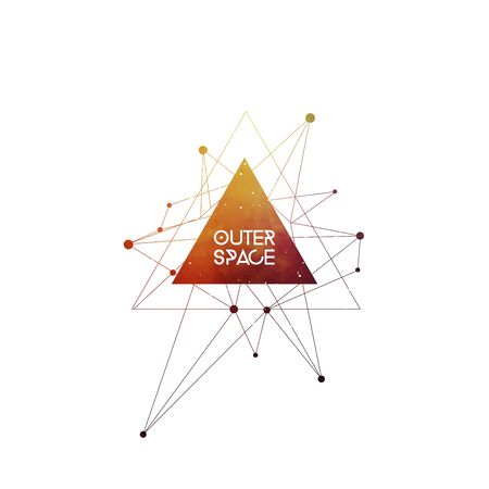 Outer Space scientific template . Hipster triangles and interlocking circles with space texture. Vector design for music albums, posters, flyers, web design and mobile application.