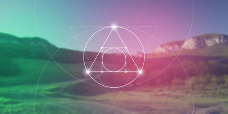 Philosopher stone sacred geometry spiritual new age futuristic illustration with transmutation interlocking circles, triangles and glowing particles in front of blurred background.