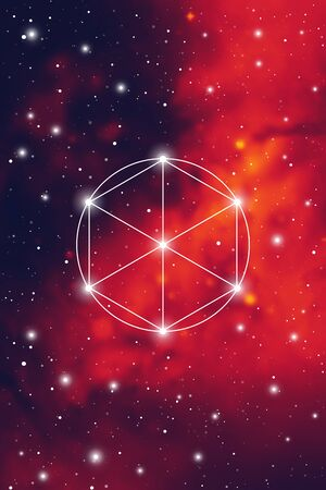 Philosopher stone sacred geometry spiritual new age futuristic illustration with transmutation interlocking circles, triangles and glowing particles in front of cosmic background