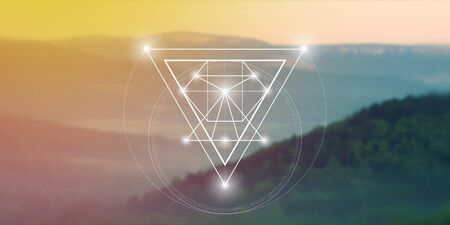 Sacred geometry web banner. Math, nature, and spirituality in nature. The formula of nature.  イラスト・ベクター素材