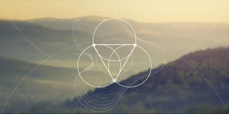 Sacred geometry web banner. Math, nature, and spirituality in nature. The formula of nature. Illustration