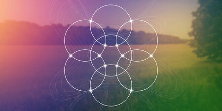 Sacred geometry web banner. Math, nature, and spirituality in nature. The formula of nature. Ilustración de vector