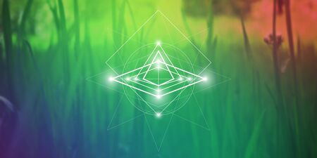 Sacred geometry web banner. Math, nature, and spirituality in nature. The formula of nature. Vectores