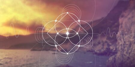 Sacred geometry wide web banner. Math, nature, and spirituality in nature. The formula of nature.