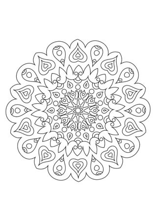 mandala adult coloring book page. Zendoodle circular black and white outline illustration.
