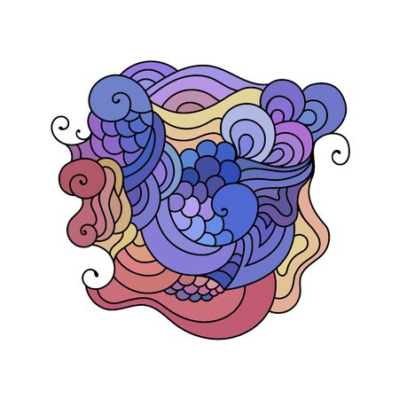 Colorful  doodle sketch. Tattoo sketch. Ethnic tribal wavy vector illustration.