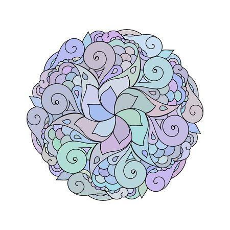 Zentangle mandala colorful illustration. Zendoodle tribal tattoo sketch.