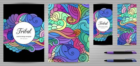 Doodles corporate identity and stationery templates set . Colorful graphic design mockups including document, flyer, business card and pen. Ethnic tribal wavy vector illustrations.