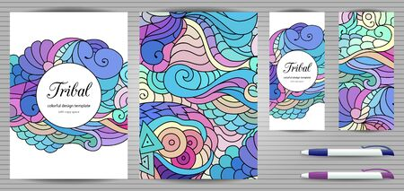 Doodles corporate identity and stationery templates set . Colorful zentangle graphic design mockups including document, flyer, business card and pen. Ethnic tribal wavy vector illustrations.