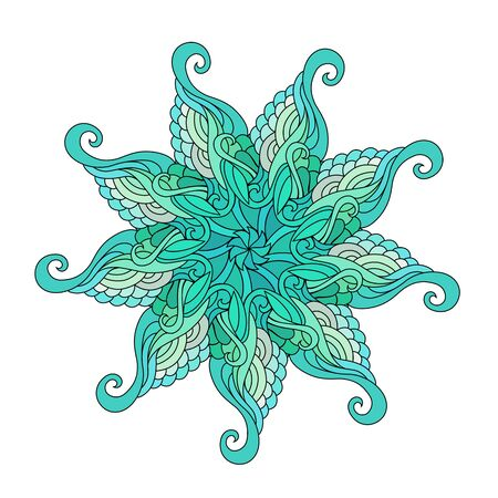 mandala colorful illustration. Zendoodle tribal tattoo sketch.