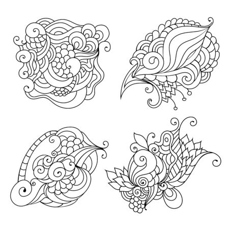 Coloring book doodle sketch. Tattoo sketch. Ethnic tribal wavy vector illustration on white background.  イラスト・ベクター素材