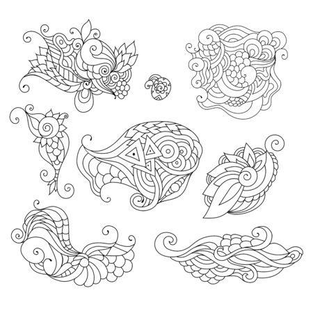 Coloring book doodle sketch. Tattoo sketch. Ethnic tribal wavy vector illustration.