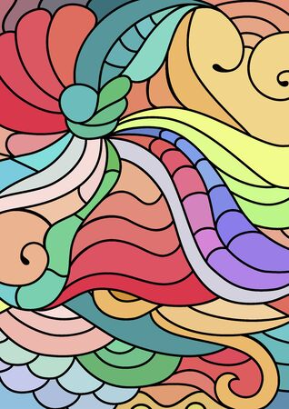 tribal ornaments with hand drawn doodle drawings. Bohemian abstract background.