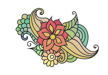 floral coloring book ornament with flowers and leaves on white