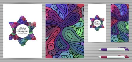 Doodle style hexagram corporate identity and stationery templates set . Colorful jewish design. Ethnic tribal flyer and document mockups.