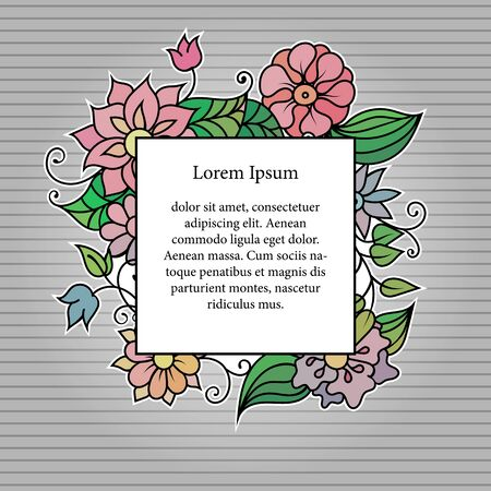 Colorful floral frame template with copy space area. Blue and purple flowers and green leaves vivid vintage postcard or invitation on grey Иллюстрация