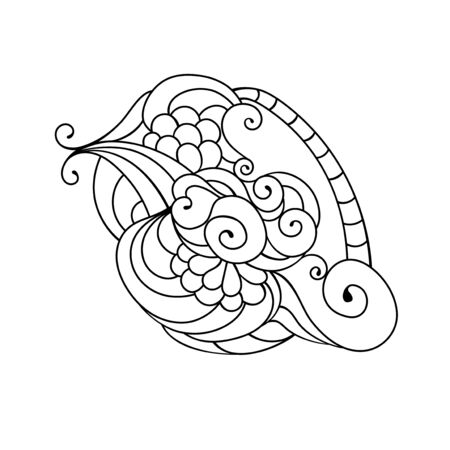 Coloring book doodle sketch. Tattoo sketch. Ethnic tribal wavy vector illustration on white background. Иллюстрация