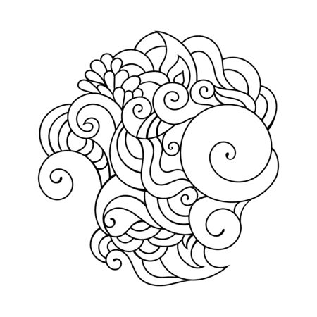 Colorful doodle sketch. Tattoo sketch. Ethnic tribal wavy vector illustration on white.