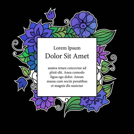 Colorful floral frame template with copy space area. Blue and purple flowers and green leaves vivid vintage postcard or invitation on black