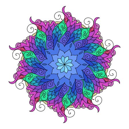 mandala colorful illustration. Zendoodle tribal tattoo sketch on white background.