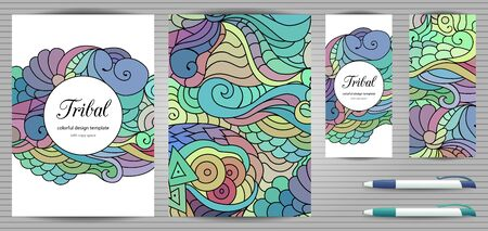 Doodles corporate identity and stationery templates set . Colorful  graphic design mockups including documents, flyer, business card and pen. Ethnic tribal wavy vector illustrations.