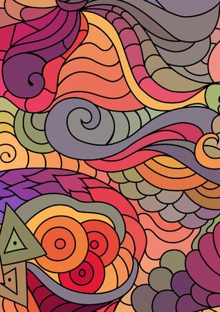 tribal ornaments with hand drawn doodle drawings. Bohemian colorful abstract background.  イラスト・ベクター素材