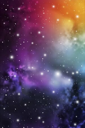 Astrology Mystic Galaxy Background. Outer Space. Vector Digital Colorful Illustration of Universe.