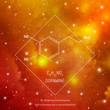 Dopamine neuro transmitter molecule and formula in front of cosmis background. Brain chemistry infographic on space.
