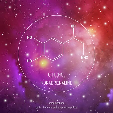 Noradrenaline neuro transmitter and hormone molecule and formula in front of cosmis background. Brain chemistry infographic on space. Иллюстрация