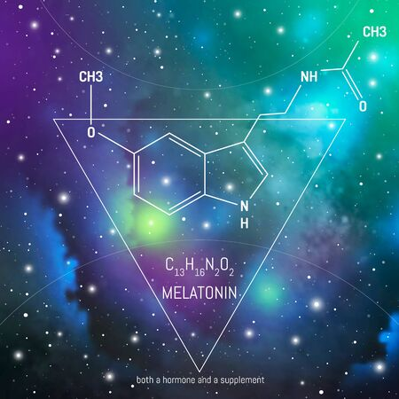 Melatonin hormone molecule and formula in front of cosmis background. Body chemistry infographic on space. Circadian rhythm drug.