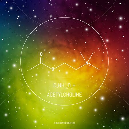 Acetylcholine neuro transmitter molecule and formula in front of cosmis background. Brain chemistry infographic on space 向量圖像