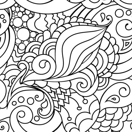 oriental black and white pattern with doodle ornaments.