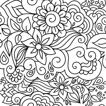 floral textile pattern with ornamental flowers and leaves. Colorful hippie style seamless herbal texture with oriental boho chic motives. Иллюстрация