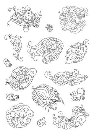 Coloring book  doodle sketch. Tattoo sketch. Ethnic tribal wavy vector illustration on white background.