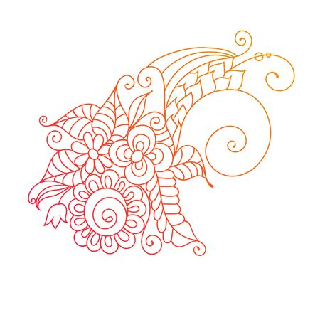 floral coloring book ornament with flowers and leaves on white.