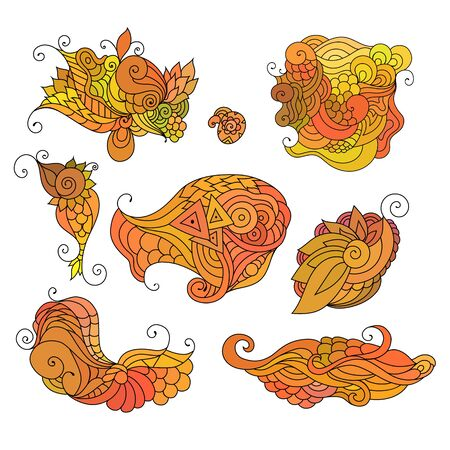 Colorful  doodle sketch. Set of tattoo sketches. Ethnic tribal wavy vector illustration on white.