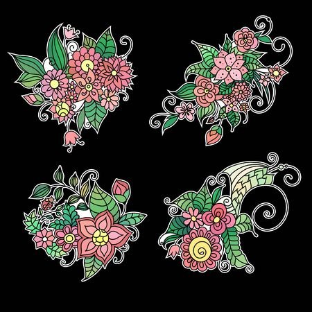 floral coloring book ornament with flowers and leaves on black