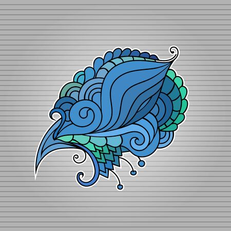 Tattoo sketch. Ethnic tribal wavy vector illustration on grey Ilustração
