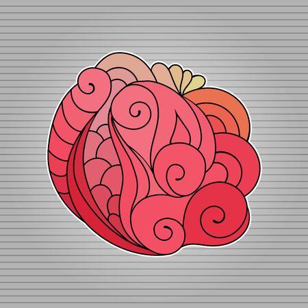 Tattoo sketch. Ethnic tribal wavy vector illustration on grey  イラスト・ベクター素材