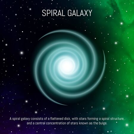 Spiral galaxy. Space infographic - cosmic objects in the universe. Space objects.