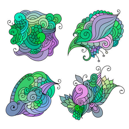 Colorful doodle sketch. Set of tattoo sketches. Ethnic tribal wavy vector illustration.