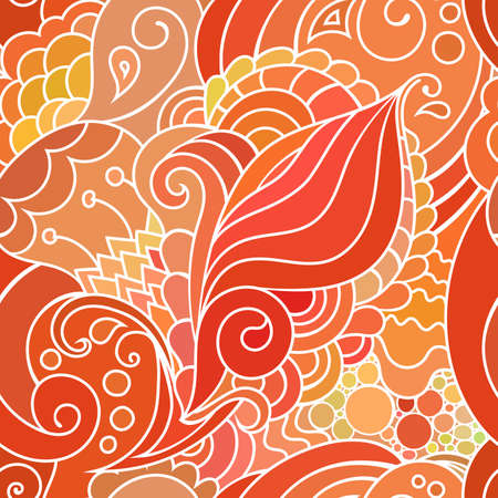 textile pattern with waves and curles. Colorful hippie style seamless texture with oriental boho chic motives.