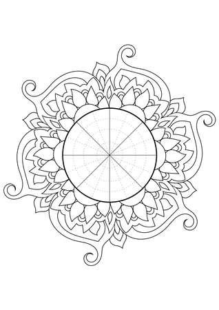 Wheel of Life. Life balance wheel radial diagram. Psychology and coaching tool for self development. Personal purposes chart with elegant zendoodle design. Ilustração