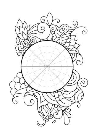 Wheel of Life. Life balance wheel radial diagram. Psychology and coaching tool for self development. Personal purposes chart with elegant zendoodle design