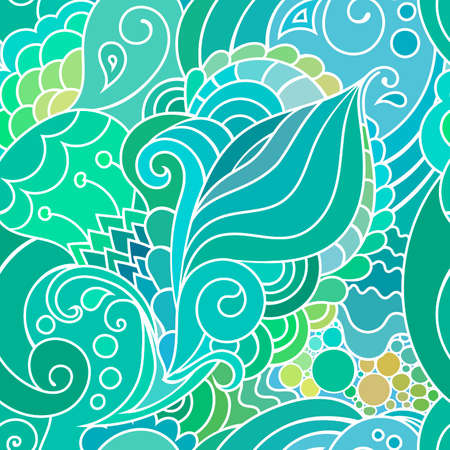textile pattern with waves and curles. Colorful hippie style seamless texture with oriental boho chic motives Ilustração