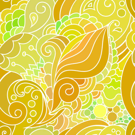 textile pattern with waves and curles. Colorful hippie style seamless texture with oriental boho chic motives Vectores