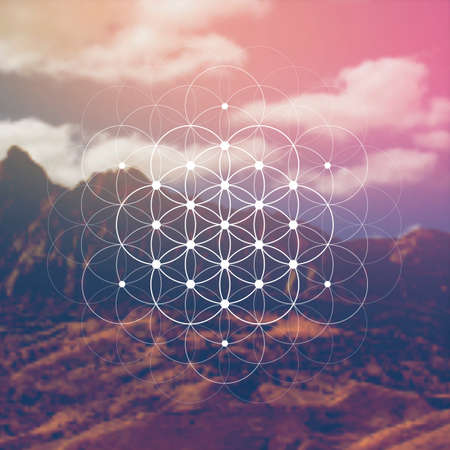 Flower of life sacred geometry illustration with intelocking circles and light dots in front of photographic background. Hipster tree of life sci fi art.