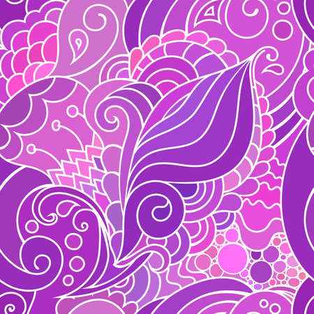 inspired textile pattern with waves and curls. Colorful hippie style seamless texture with oriental boho chic motives.